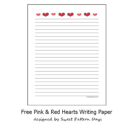 free printable heart lined paper pink red hearts lined paper header letter pinterest