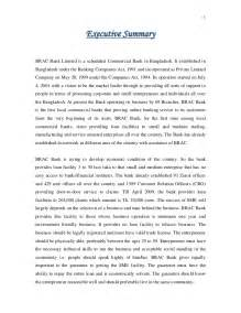 Sample Executive Summary Of A Report Executive Summary Of Sme Activities Of Brac Bank Limited