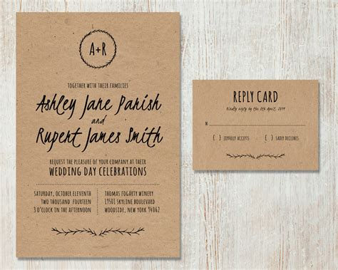 printable paper invitations rustic wedding invitation diy kraft paper invitation