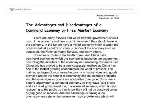 Essay About Economy by The Advantages And Disadvantages Of A Command Economy Or Free Market Economy Gcse Business