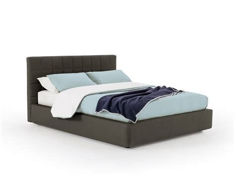 fenix bed with square padded headboard homeplaneur
