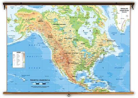 america map physical map america physical classroom map from academia maps