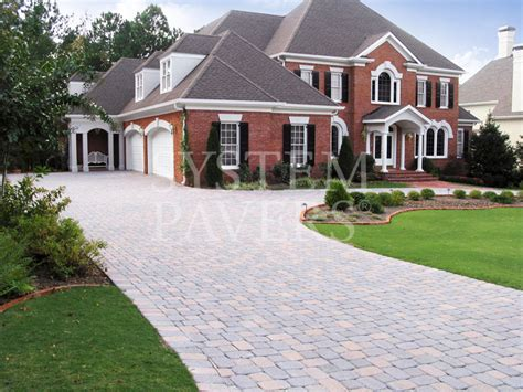 Driveway Pavers On A Long Driveway Around The House House Driveway Designs