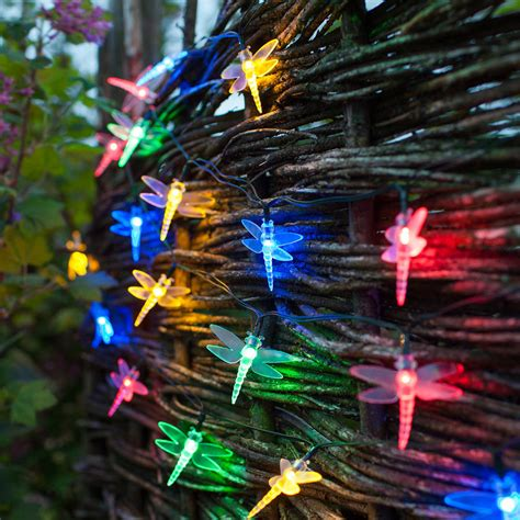 Multi Coloured Solar Dragonfly Fairy Lights By Lights4fun Solar Dragonfly Lights