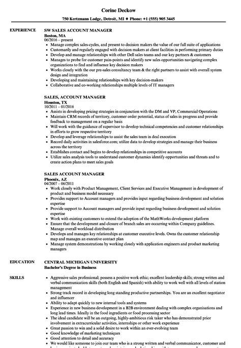 account manager sle resume sales account manager resume sles velvet