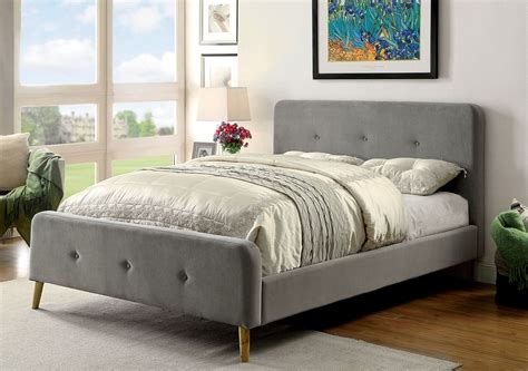 transitional grey full size button tufted platform bed