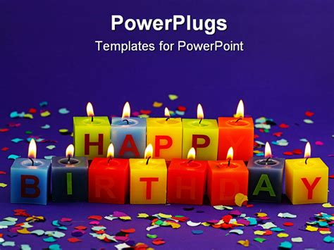 Colorful Burning Happy Birthday Candles On Lilac Happy Powerpoint Templates