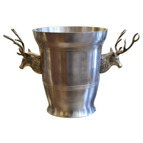 pewter barware pewter ice bucket with brass stag head side mounts at 1stdibs