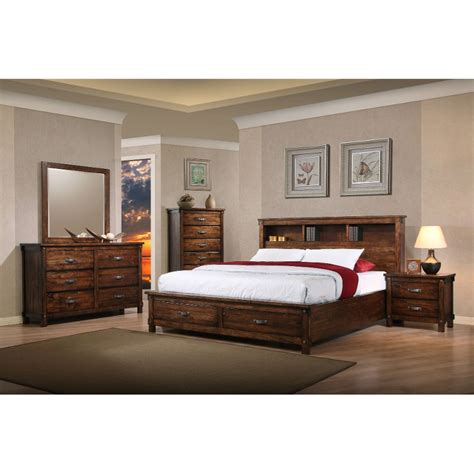 rustic brown 6 bedroom set