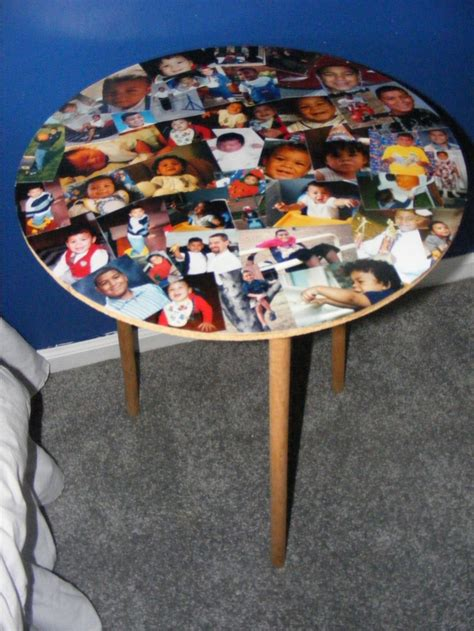 Decoupage Table Top - modge podge table top of favorite photos decoupage