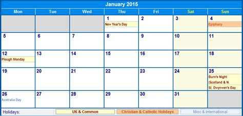 january calendar template 2015 january 2015 uk calendar with holidays for printing image