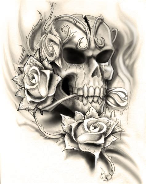 tattoo designs skull and roses skull design by neogzus deviantart on