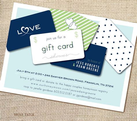 bridal or couples shower invitation giftcard by briarpatchdesigns