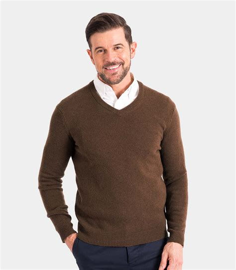 mens knitted jumpers wood brown lambswool mens lambswool v neck knitted
