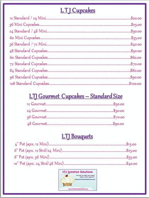 cupcake price list template cupcake price cake ideas