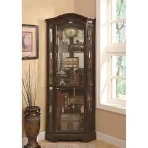 Curio Cabinet Measurements Coaster Curio Cabinets 5 Shelf Corner Curio Cabinet With