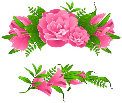 decorative art flowers pink flowers decorative element png clipart gallery