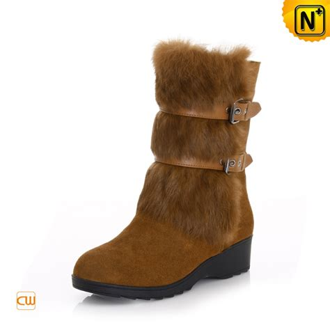 womens rabbit fur cowhide leather snow boots cwmalls