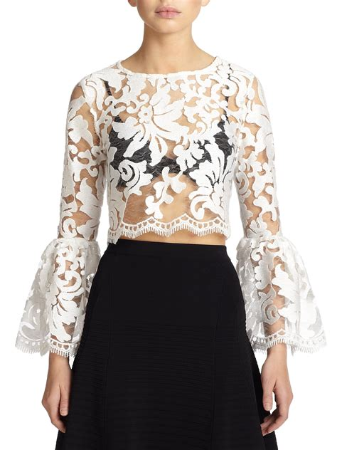 Blouse Cookies Bell vito sheer lace bell sleeve blouse in white lyst