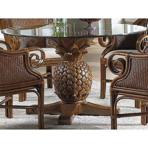 Wicker Kitchen Table Hospitality Rattan Sunset Reef Indoor Rattan And Wicker Pineapple Dining Table With Glass