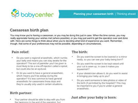 cesarean birth plan template caesarean sections an overview babycenter