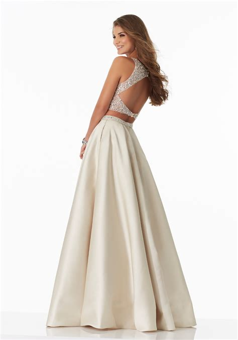 two prom dress with a line satin skirt style 99018