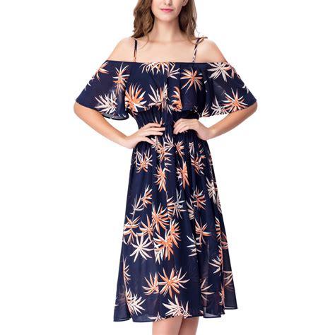 Spaghetti Floral Midi Dress s spaghetti flounce shoulder floral casual