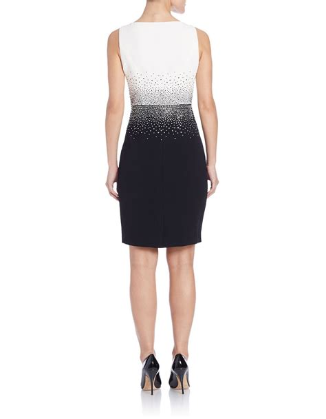 Embellished Sheath Dress calvin klein ombre embellished sheath dress in blue lyst