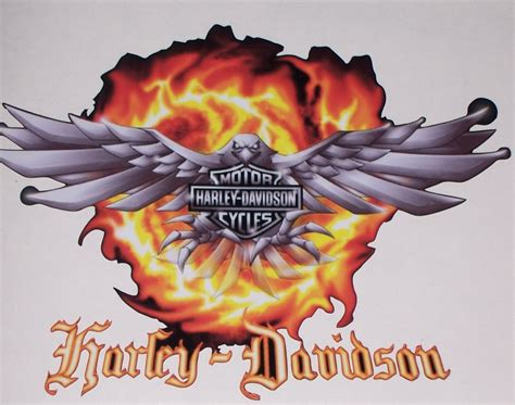 harley davidson eagle flames full color trailer or wall 25