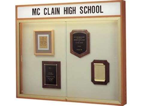 wall mounted trophy cabinets wall mount display case header plaque fabric 50 quot wx42 quot h