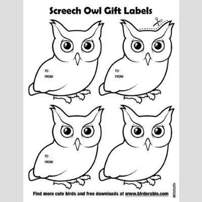 screech owl coloring page cute bird gift labels by birdorable free downloads