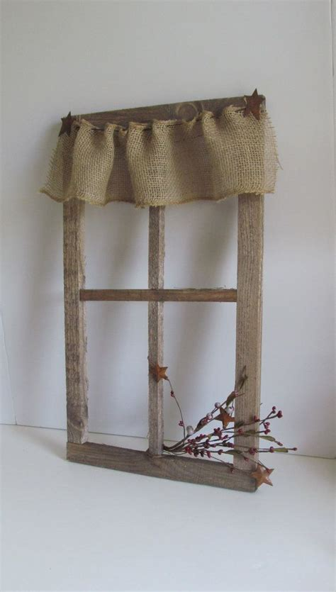 wooden window frame with curtains burlap curtains primitive rustic barnboard window