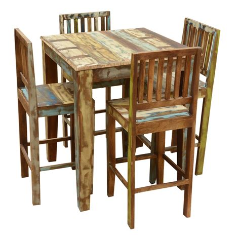 high table and chair set appalachian rustic reclaimed wood high bar table chair set