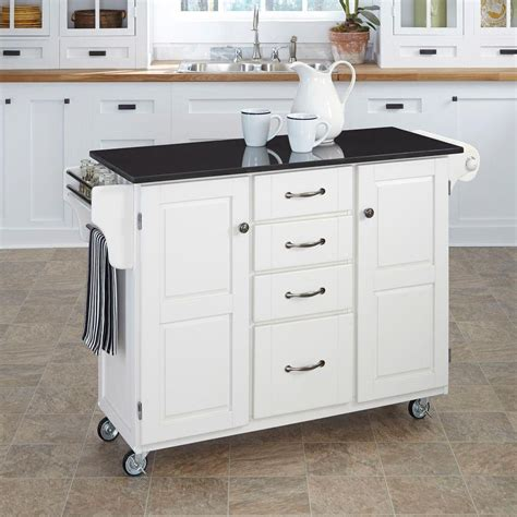 white kitchen island with black granite top home styles create a cart white kitchen cart with black