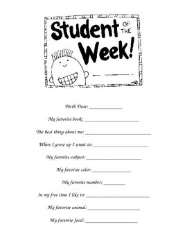 printable star of the week form star student of the week form by vanessa m teachers pay