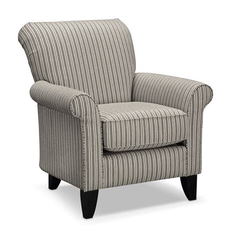 livingroom chairs colette accent chair gray stripe value city furniture