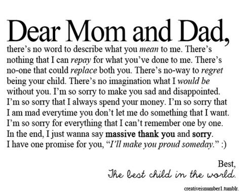 thank you letter to parents for always being there 1000 images about sorry on my and