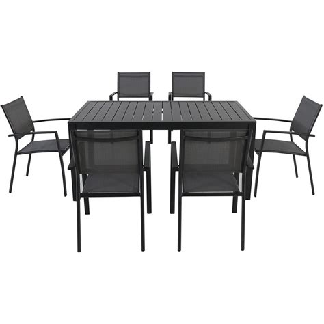 vgmgvista renava vista 7 pc outdoor dining table cambridge 7 aluminum rectangular outdoor dining set novadns7pc gry the home depot