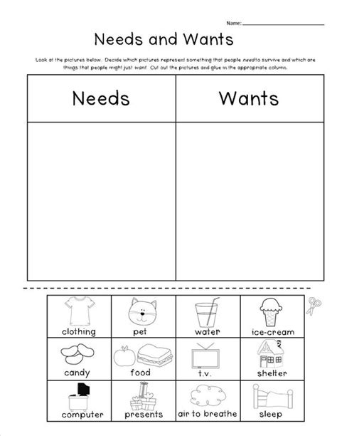 kindergarten activities needs and wants needs vs wants worksheets worksheets releaseboard free