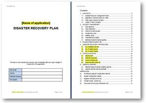 disaster recovery plans template templates the continuity advisorthe continuity advisor