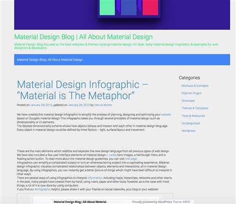 bootstrap themes material design 11 free material design wordpress themes to spice up your blog