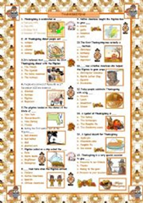 was thanksgiving a success quiz teaching worksheets thanksgiving day