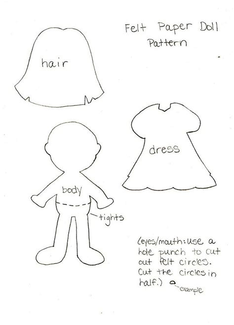 pattern paper doll 17 best images about felt 5 on pinterest tooth fairy