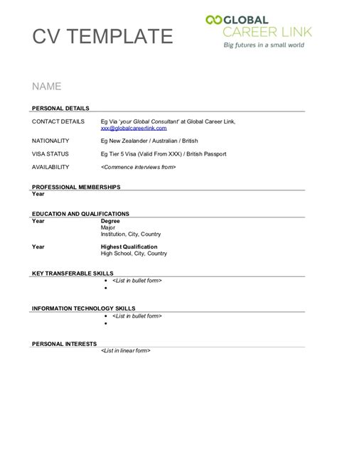 free cv template pdf uk cv template