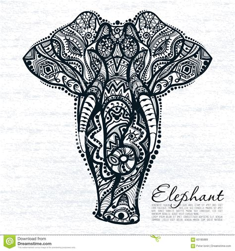 ethnic pattern of elephant stock vector image 60185889