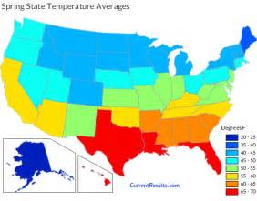 temperature averages for each usa state current
