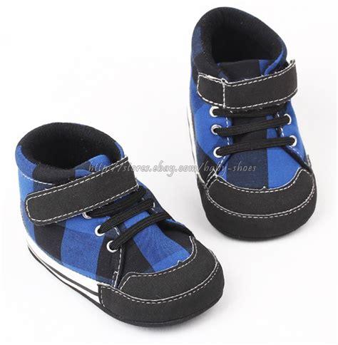 Baby Prewalker Shoes Import Bks0668 blue black plaid baby boy walking shoes baseball boot size 3 6 6 12 12 18 mos ebay