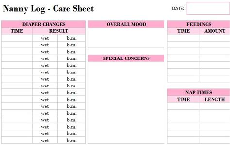 nanny daily log template free printable scheduling template calendar template 2016