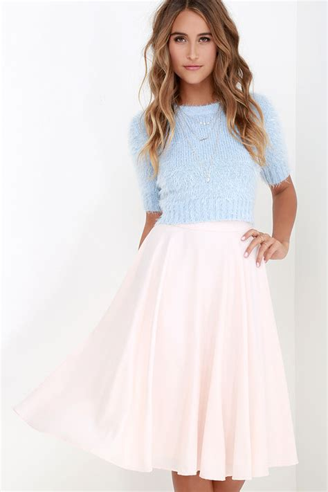 chic pale blush skirt midi skirt high waisted skirt