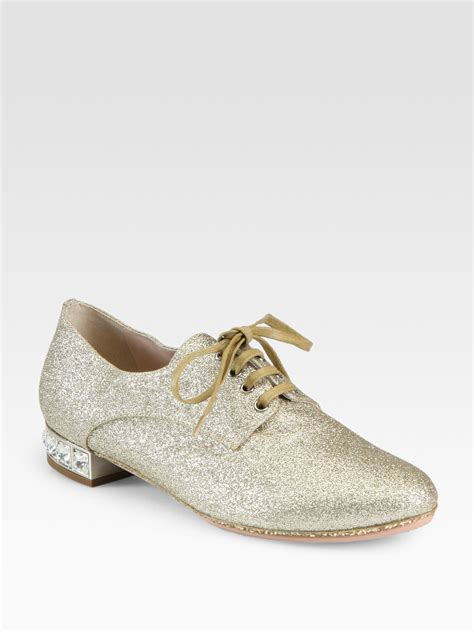 miu miu oxford shoes miu miu glitter jeweled heel oxfords in gold pirite gold